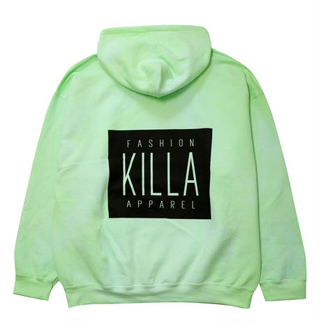 NEW ESSENTIAL BOX LOGO HOODIE LIME GREEN TIE-DYE