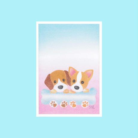 メッセージカード【2匹の犬】