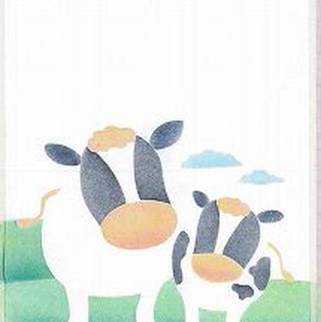 メッセージカード【牛の親子】