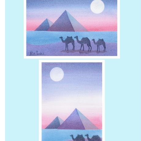 はがきサイズ【ピラミッドと月】