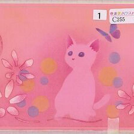 はがきサイズ【猫と蝶と花】