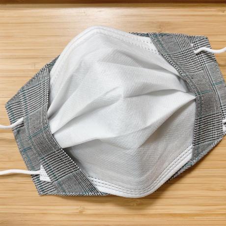 不織布マスク用マスクカバー (チェック/グリーンライン)ユニセックス