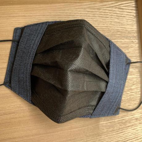 不織布マスク用マスクカバー(両面高島ちぢみ)濃紺縞模様