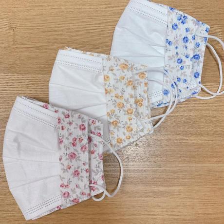 不織布マスク用マスクカバー(両面高島ちぢみ)小花柄3カラー