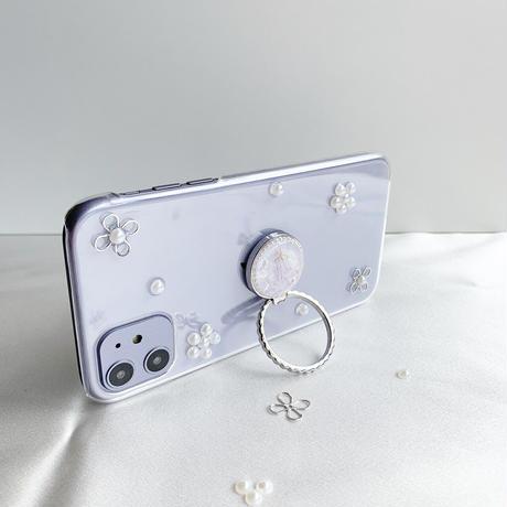 淡いかすみ草のスマホリング  ゴールド・シルバー iPhone12や最新android対応