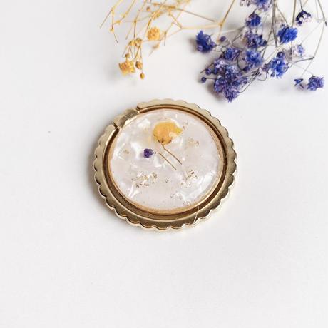 黄色と紫のかすみ草スマホリング ゴールド