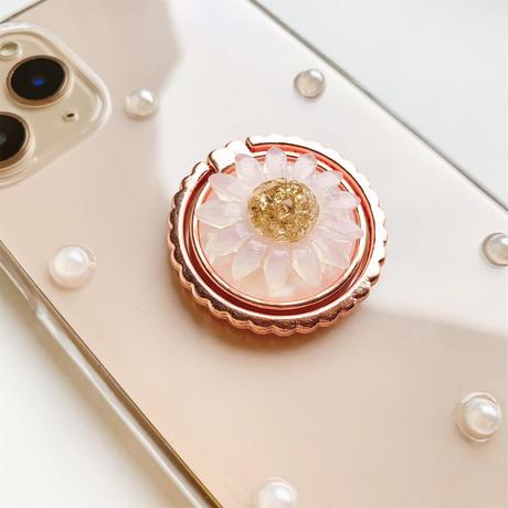 マーガレットのスマホリング付きケース ピンクゴールド android全機種対応