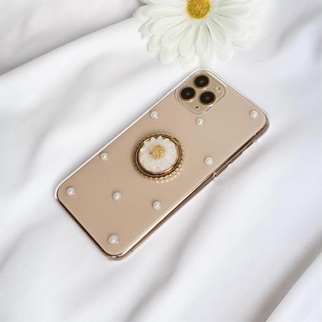 マーガレットのスマホリング付きケース ゴールド android全機種対応