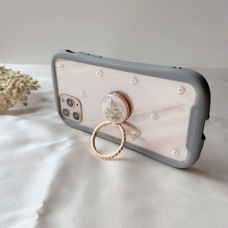 白いかすみ草のスマホリング  ゴールド・ローズゴールド iPhone12や最新android対応