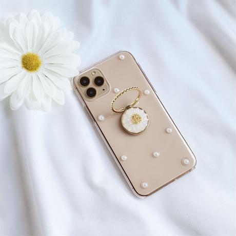 マーガレットのスマホリング付きケース ゴールド iPhone全機種対応