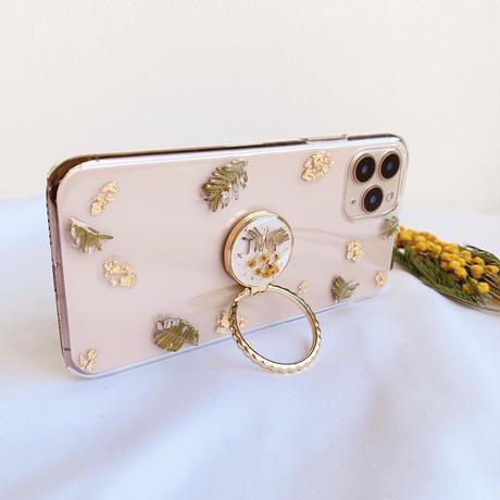 ミモザのスマホリング付きケース ゴールド iPhone全機種対応