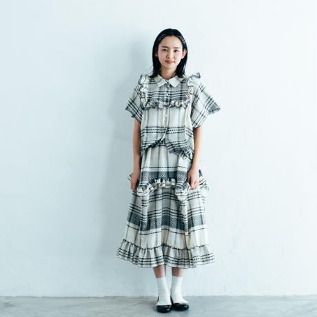 【 HOUGA 】check giftbox skirt