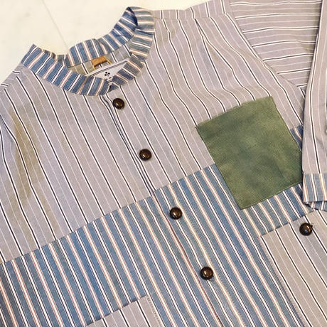【 AU CLAIR DE LA LUNE 】パッチワークシャツ -110 size-