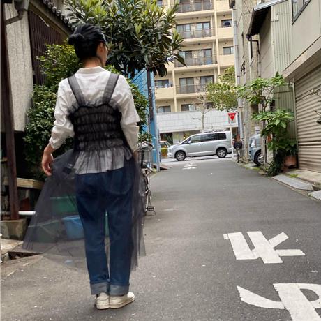 【 UNIONINI 】tulle shirring long dress