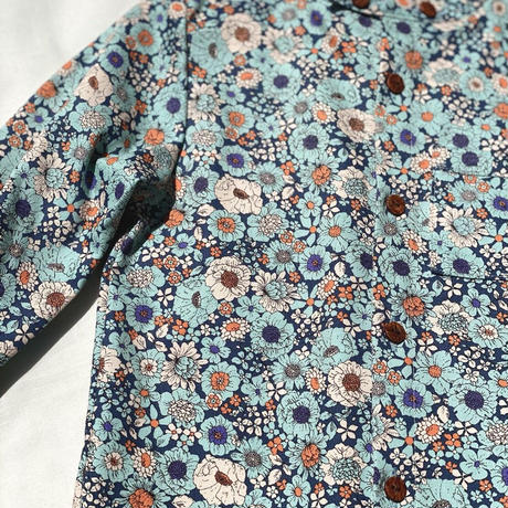 【 melenani 】CHIRTS [チャツ]  Long Sleeve Shirt (BLUE FLOWER)