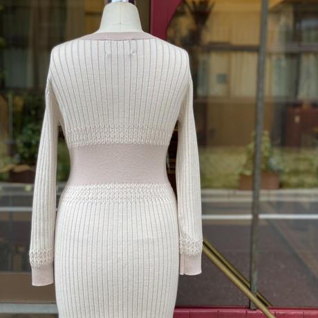 【 Create Clair 】Plating rib  cardigan dress (ワンピース)