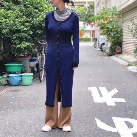 【 Create Clair 】Plating rib  cardigan dress