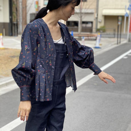 【 Ruimeme 】〈Night flowers〉no collar blouse