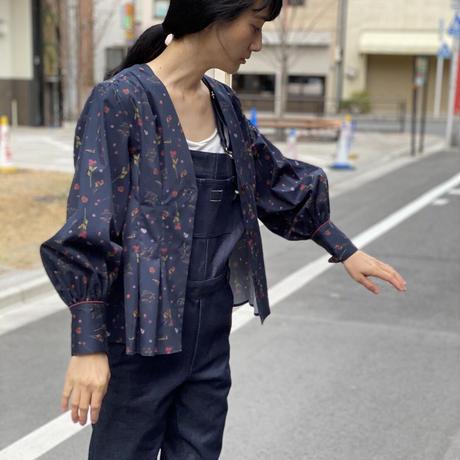 【 Ruimeme 】〈Night flowers〉no collar blouse