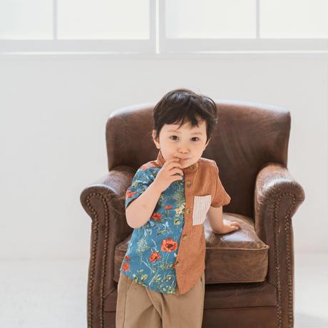 【 melenani 】grandpa shirt -flower x orange-