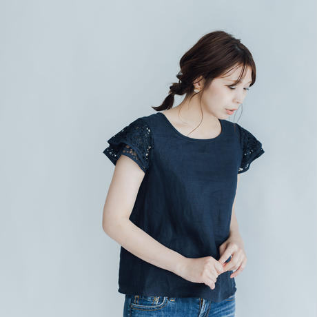 【 Ruimeme 】Linen Lace T-shirt -Navy-