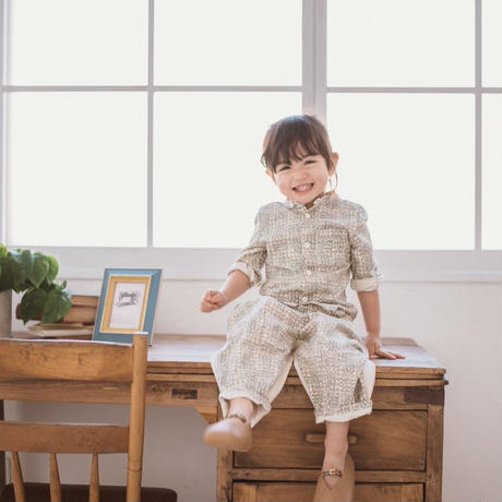 "【 melenani 】LIBERTY ""Sleeping Rose"" Long Sleeve Grandpa Shirt"
