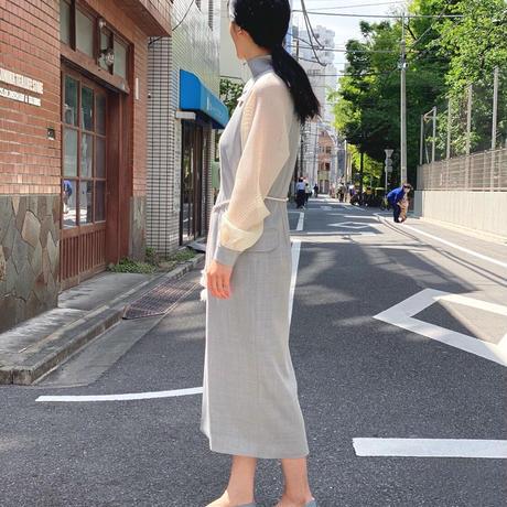 【 daichïogata 】サマードレス(ライトグレー × オフホワイト)