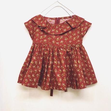 【 melenani 】Vintage US Cotton Volum Short Dress -Wine-