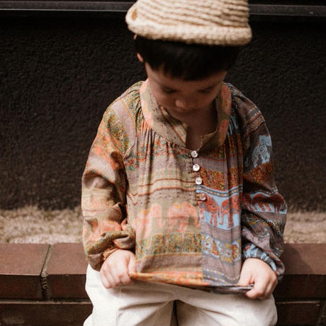 【 melenani 】Indian cotton Bicolor Blouse -Elephant-