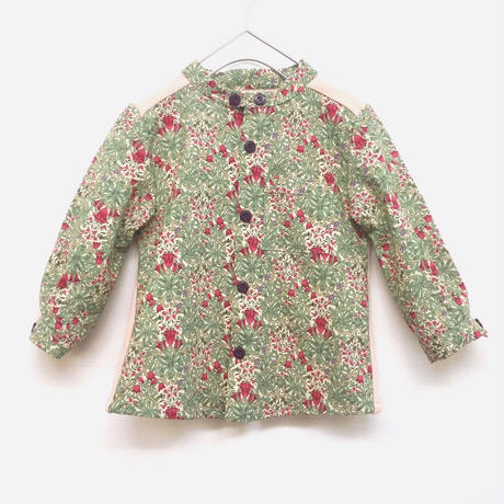 【 melenani 】Long sleeve granpa shirt -flower x coral-