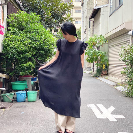 【 Ruimeme 】Frill Sleeve Linen dress -Black-