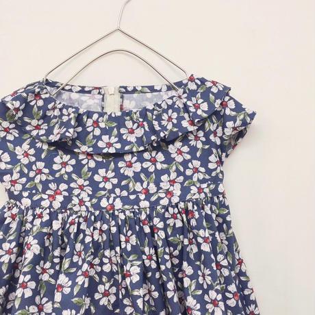 【 melenani 】 Volum Short Dress -flower x navy-