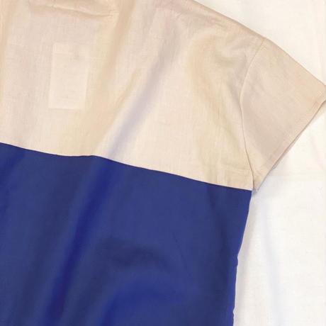 【 AU CLAIR DE LA LUNE 】square shirt 2 tone -110 size-
