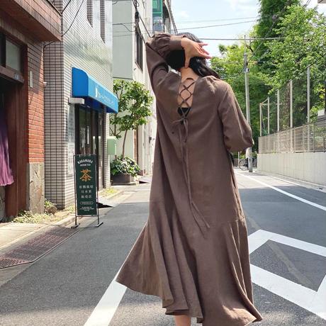 【 Ruimeme 】back lace up linen dress -Brown-