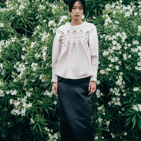 【 Create Clair 】Jacquard deep slit skirt (スカート)