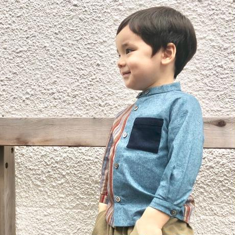 【 melenani 】Long Sleeve Bicolor Granpa Shirt