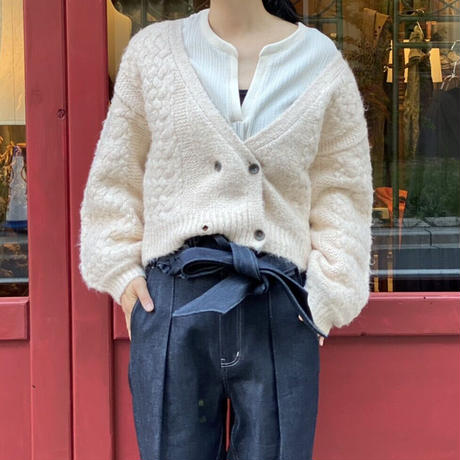 【 Create Clair 】Crossed stitch double cardigan (カーディガン)