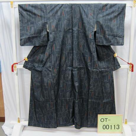リユース【大島紬 OT-00113】グレー地 幾何学模様柄  身丈156cm 裄丈62cm