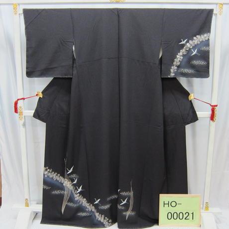 リユース【訪問着】グレー 流水/鶴【HO-00021】身丈166cm 裄丈65cm