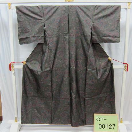 リユース【大島紬 OT-00127】グレー地 牡丹柄  身丈156cm 裄丈60cm