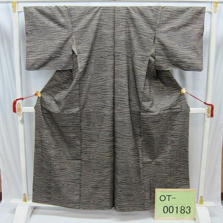 リユース【大島紬 OT-00183】紺地 茶横木目調柄  身丈157cm 裄丈65cm