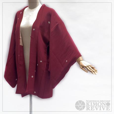 Flower bud pattern tie-dye haori, burgundy #h005