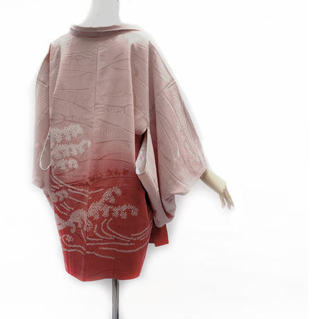 Wave pattern SHIBORI haori, marron #h034