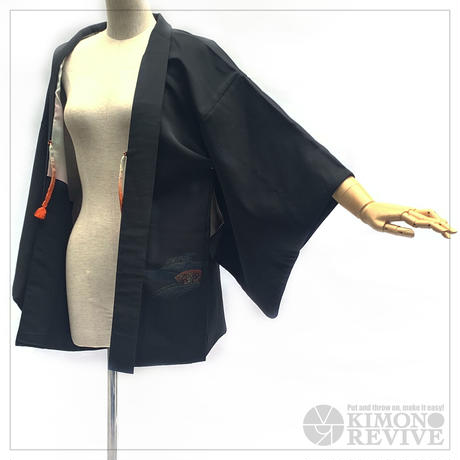 Japanese fan pattern haori, black #h026