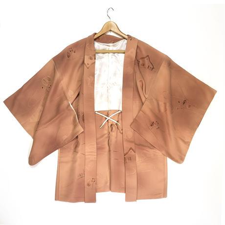 Country scenery pattern haori, caramel brown #h017