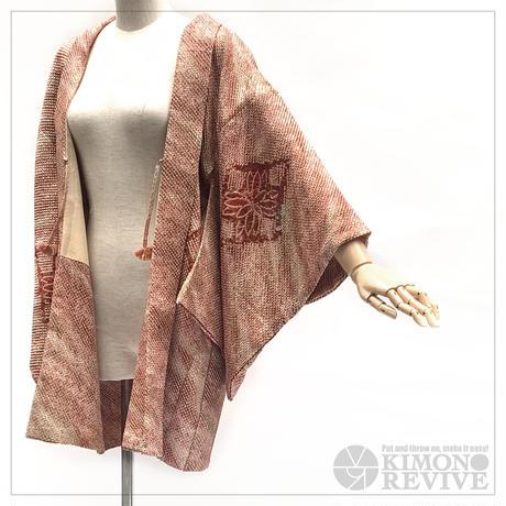 Diamond pattern SO-SHIBORI haori, burgundy #h014