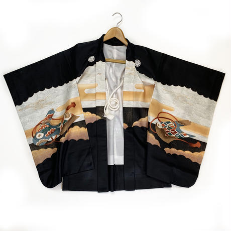 Cerebration haori w/hawk and castle for boy, black #h029