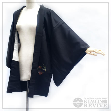 Plum blossom pattern haori, black #h025