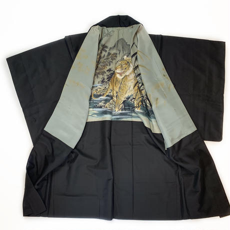 Men's black haori w/tiger lining, hand drowing #h033