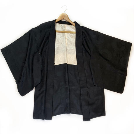 Ancient mirror woven pattern haori, solid black #h007